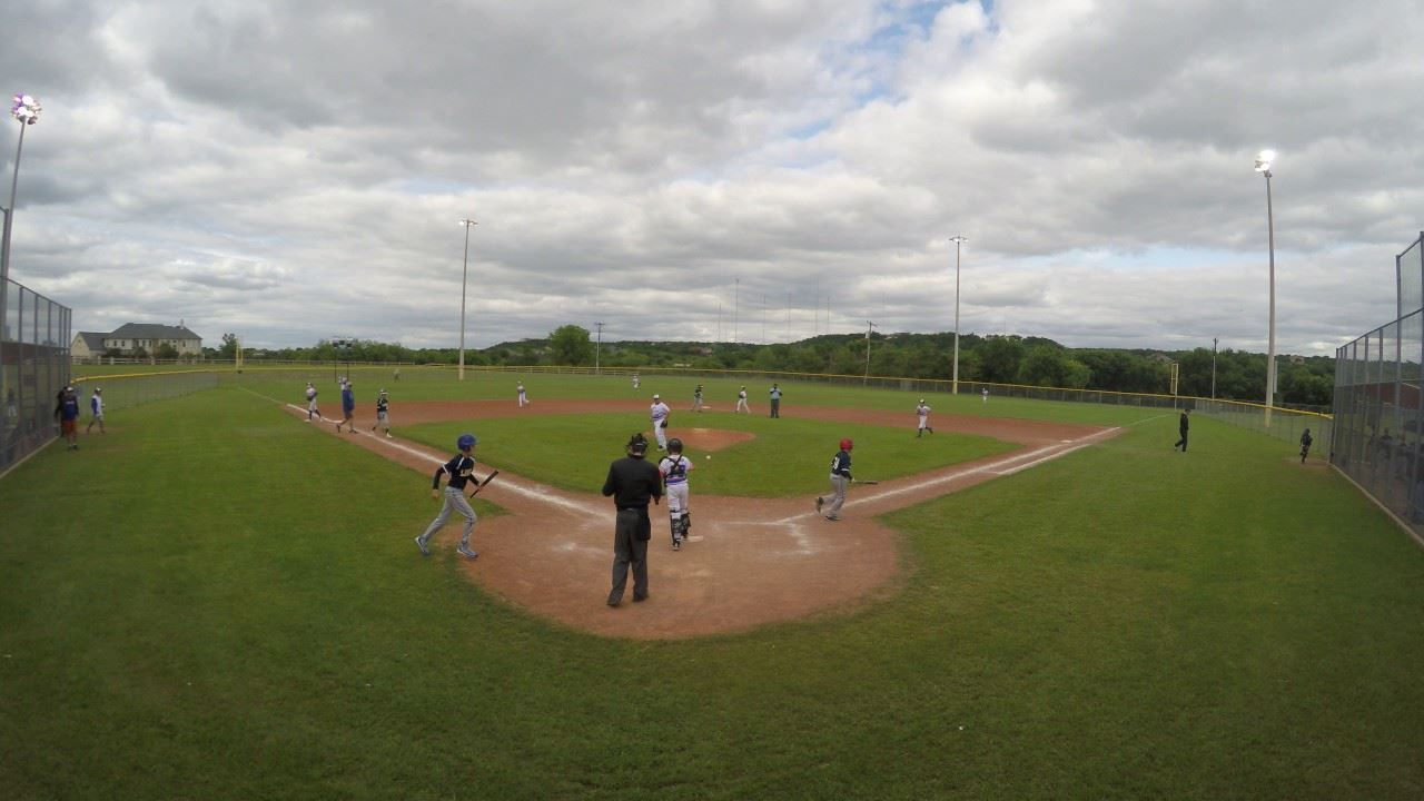 Valley Ridge Park Ball Field with Baseball Team Playing